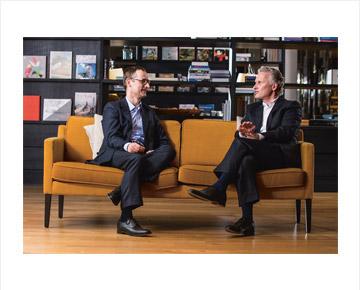 Vorstände der Soennecken eG - Dr. Erdmann und Dr. Barth - im Gespräch